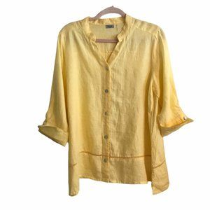 Symple NYC Yellow Linen Button Front Top